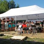 Sommerkledde sangere og musikere i kveldssol. Foto: Astri Kløvstad